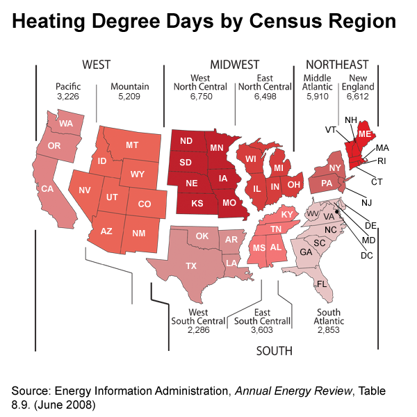 Map of heating degree days